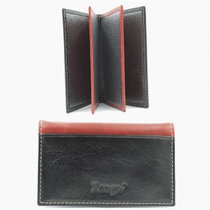 Red Black Leather Card Case
