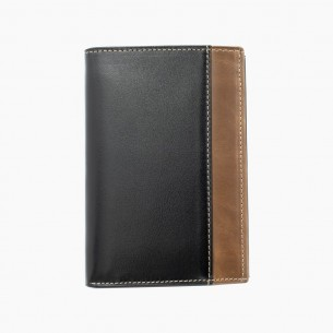 by LYDIAN Brown Black Leather Wallet