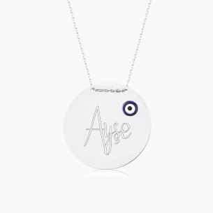 Engraved Name 925s Silver Necklace With Evil Eye