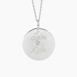 Personalized Heart Silver Necklace with Cz Zirconia
