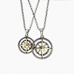 Compass Pendant with Chain Set For Couple