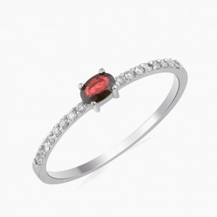 0.34ct. Diamond Ruby Ring 18ct White Gold