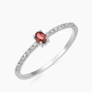 0.27ct. Diamond Ruby Ring 18ct White Gold
