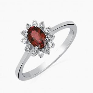 0.75ct. Diamond Ruby Ring 14ct White Gold
