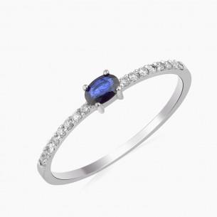 0.34ct. Diamond Sapphire Ring 18ct White Gold