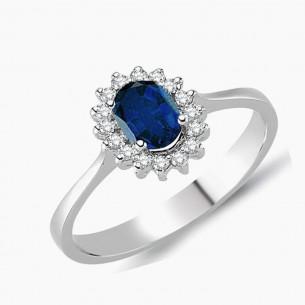 0.76ct. Diamond Sapphire Ring 8ct White Gold