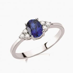 0.80ct. Diamond Sapphire Ring 8ct White Gold