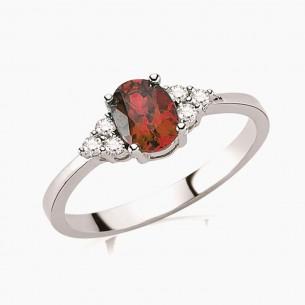 0.80ct. Diamond Ruby Ring 8ct White Gold