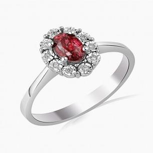 0.76ct. Diamond Ruby Ring 14ct White Gold