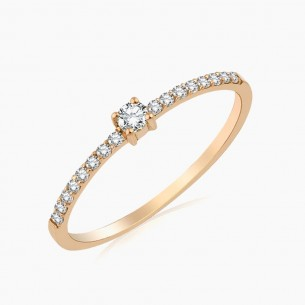 0.18 Diamond Ring 18ct Rose...