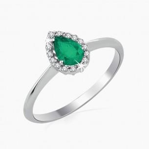 0.46ct. Diamond Emerald Ring 8ct White Gold