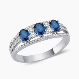0.83ct. Diamond Sapphire Ring 8ct White Gold