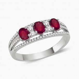 0.94ct. Diamond Ruby Ring 8ct White Gold