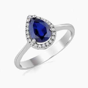 1.93ct. Diamond Sapphire Ring 8ct White Gold