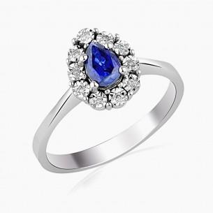 0.76ct. Diamond Sapphire Ring 14ct White Gold