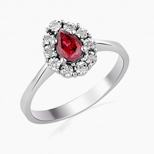 Rubine Ring aus 585er Weißgold mit 0.76 ct.