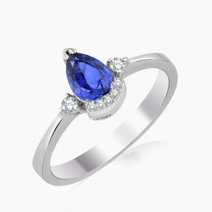 1.27ct. Diamond Sapphire Ring 8ct White Gold