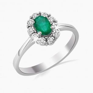 0.52ct. Diamond Emerald Ring 14ct White Gold