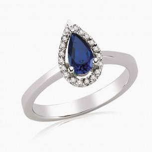 0.64ct. Diamond Sapphire Ring 8ct White Gold