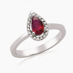 0.64ct. Diamond Ruby Ring 8ct White Gold