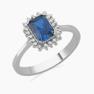 1.44ct. Diamond Sapphire Ring 8ct White Gold