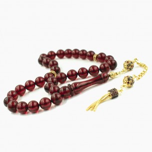 Red Amber Misbaha With Silver Imame