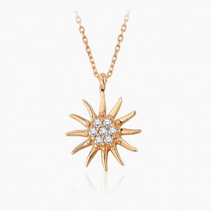 14K Rose Gold & 0.05 ct Diamond Sun Necklace