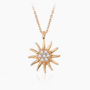 585er Rosegold-Anhänger Sonne 0.05 ct. Diamant