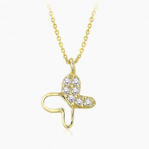14K Yellow Gold & 0.07 ct Diamond Butterfly Necklace