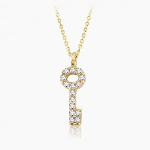 14K Yellow Gold & 0.09 ct Diamond Necklace