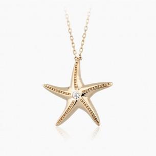 0.05 ct. Pırlanta Deniz Yıldızı Kolye