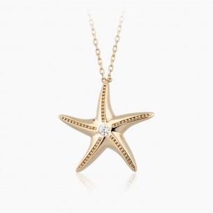 14K Rose Gold & 0.05 ct Diamond Starfish Necklace