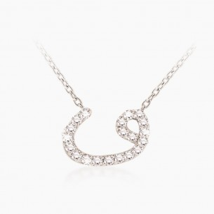 8K White Gold & 0.16 ct Diamond Necklace