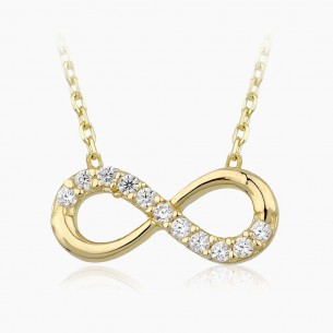 14K Yellow Gold & 0.08 ct Diamond Infinity Necklace