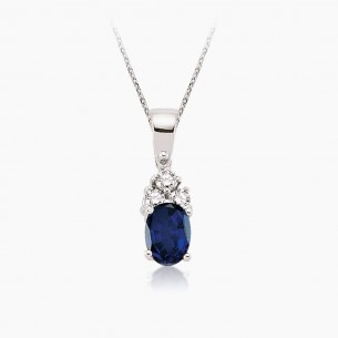 8K White Gold & 0.75 ct Diamond Sapphire Necklace