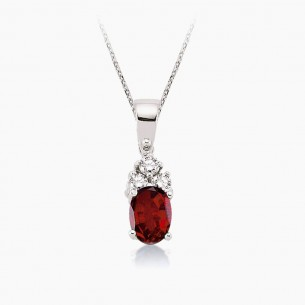 8K White Gold & 0.75 ct Diamond Ruby Necklace