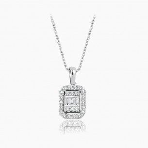 8K White Gold & 0.15 ct Diamond Necklace