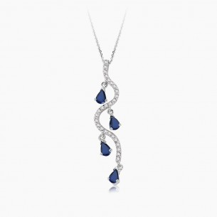 8K White Gold & 0.85 ct Diamond Sapphire Necklace
