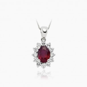 8K White Gold & 0.85 ct Diamond Ruby Necklace