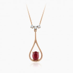 8K Rose Gold & 0.82 ct Diamond Ruby Necklace
