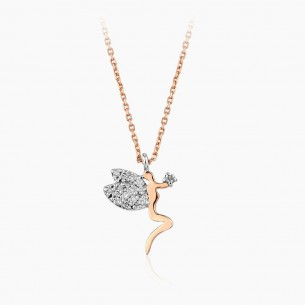 14K Rose Gold & 0.10 ct Diamond Angel Necklace