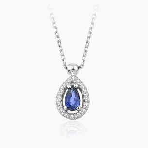 14K White Gold & 0.30 ct Diamond Sapphire Necklace