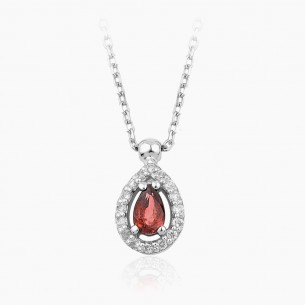 14K White Gold & 0.30 ct Diamond Ruby Necklace
