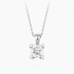 18K White Gold & 0.10 ct Diamond Necklace