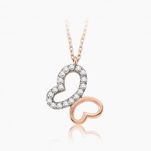 14K Rose Gold & 0.11 ct Diamond Necklace