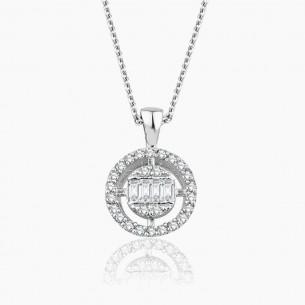333er Weißgold-Anhänger 0.15 ct. Diamant