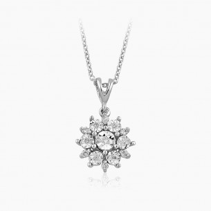 14K White Gold & 0.08 ct Diamond Necklace