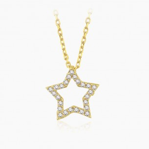 14K Yellow Gold & 0.14 ct Diamond Star Necklace