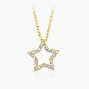 585er Gelbgold-Anhänger 0.14 ct. Diamant Star