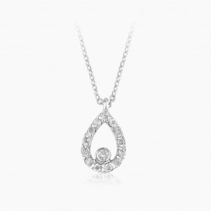 18K White Gold & 0.11 ct. Diamond Necklace